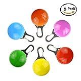 Hoovo 6 PCS LED Leuchtanhänger Hundeanhänger Clip Sicherheit Blinkendem Clip Halsband Wasserabweisend Licht bis Hundehalsband für Nacht Gehen