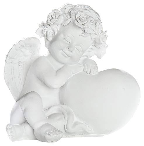 dekojohnson Schutz-Engel Weiss mit Herz Grabschmuck Grabdeko liebevolle Grab-Engel-Figur Skulptur wetterfest 15cm Gross -