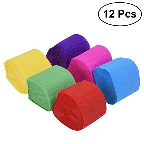 STOBOK 12 Rollen Pack Crepe Papier Party Streamer Papier Dekorationen für Geburtstag, Hochzeit, Konzert und Verschiedene Festivals (25 m/Rolle, blau, rot, pink, lila, grün, gelb)