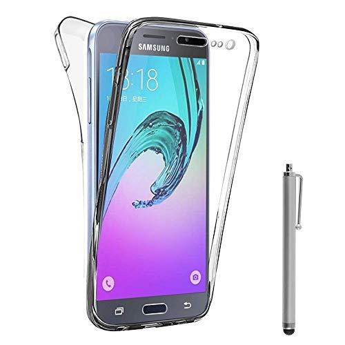 VCOMP® Coque Housse Silicone Gel Transparente Ultra Mince 360° Protection intégrale Avant et Arrière pour Samsung Galaxy J3 (2016) J320F/ Galaxy Amp Prime/ J320P/ J3109/ J320M + Stylet - Transparent