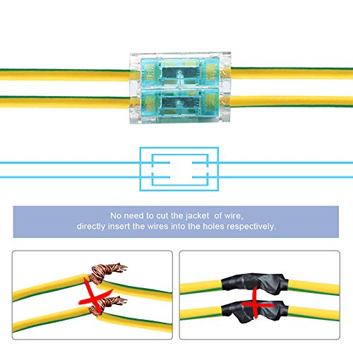TEXSENS Gauge Quick Wire Connectors Abisolierfreie Stoßverbindungsklemmen ohne Stecker- / Buchsenklemmen, Kabelverbinder mit flammhemmendem Kunststoff 16-14 AGW 2 bis 2