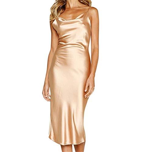KKVK Donna Sexy Sling Satin Abiti Senza Maniche Sling off Shoulder Backless Mid-polp Slim Dress Nightdress Abiti da Sera I1 M