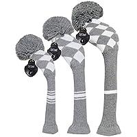 Meili Juego de 3 fundas para cabezales de golf de punto de color oscuro para madera de conductor, madera de hada e híbrida, cuello largo, pompón grande, hombre, Grey White Argyles