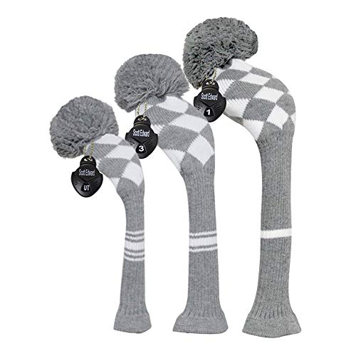 Grey White Argyles Knit Golf Headcovers Set of 3 for Driver Wood, Fairway Wood and Hybrid -
