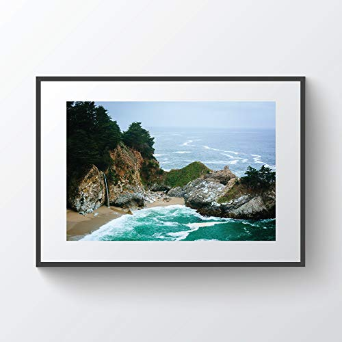 Pfeiffer Big Sur State Park (C-US-lmf379581 View of Mcway Falls at Julia Pfeiffer Burns State Park Big Sur California Photo Print Metal Canvas Framed)