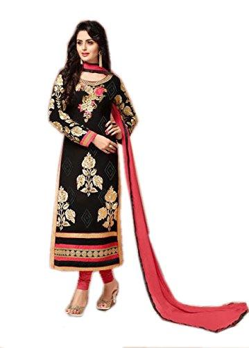Kashmira's georgette party wear embroidered straight salwar kameez