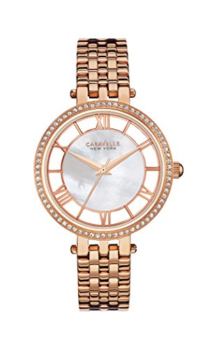 caravelle-new-york-womens-quartz-watch-with-transparency-analogue-quartz-stainless-steel-coated-44l1