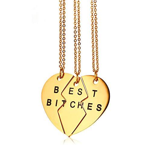 KRMZB 3-Personen-Freundschaftspuzzle Liebes-Anhänger Titan-Stahl-Freundschaft Herzform Silber-Gold-Anhänger, goldene DREI-Ketten-Kette