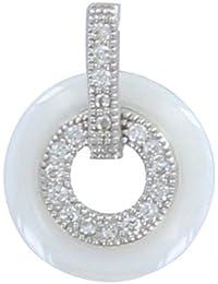 Les Poulettes Bijoux - Pendentif Argent Rhodié Petit Disque Céramique Blanche et Strass