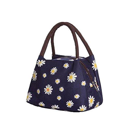 Rieovo 2017pranzo borse per donne floreale a strisce contenitore termico per pranzo picnic, Kids uomo Cooler Tote Deep Blue Small Chry