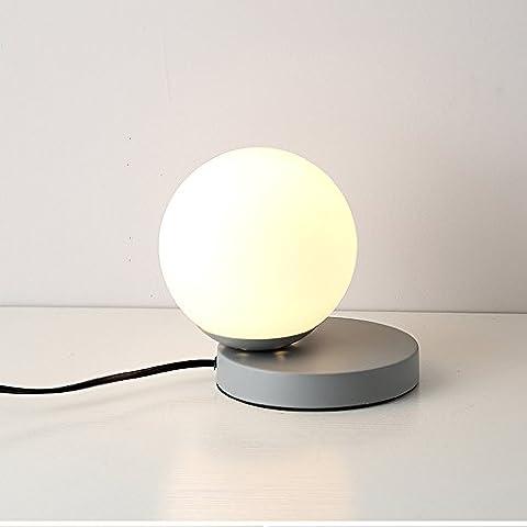E27 * 1 * 40W High Brightness Mini Post-moderne lampe de table lampe en verre High Transmittance Simple Led décoré lampe de bureau ( Color : Gray