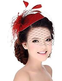 GEMVIE Tocado Plumas de Pelo Malla para Mujer Vintage de Cóctel Fiesta Rojo