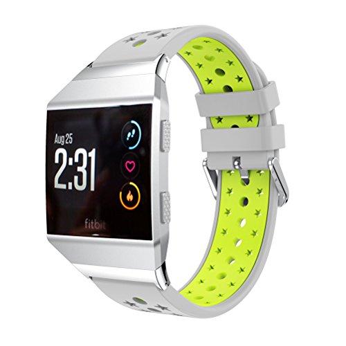 Armband Silica Gel, happytop 22mm Sporting Kids 'Uhrenarmband Uhr Band für Fitbit lonic S Grey+Green