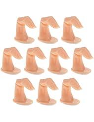 Gazechimp 10pcs Faux Doigts de Pratique Réutilisable Pour Acrylique Gel Nail Art Manucure - Nu avec ongle