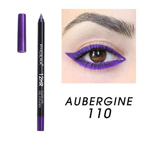 PHOERA Gel Eye Liner Pen Pencil Longwear Waterproof Eyeliner Makeup Cosmetic - 110 Aubergine