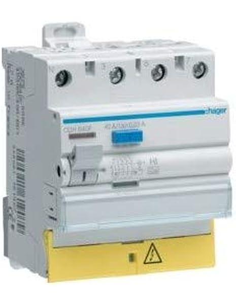 interrupteur diff/érentiel hager 30 ma vis // vis type hpi neutre 63a 1 p/ôle