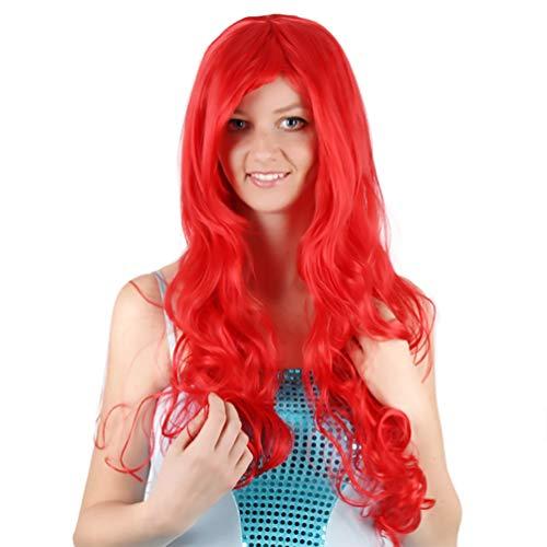 Cosplay Meerjungfrau Perücken für Frauen Prinzessin Kleine Meerjungfrau Ariel Rot Lange Lockige Wellenförmige Perücke für Kinder Erwachsene Halloween Kostüm Haar 80 cm Synthetische Perücke (Perücke Ariel Kinder)