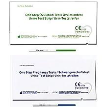 One Step - 20 Tests de Ovulación 20 mIU/ml y 5 Pruebas de Embarazo 10mIU/ml - Nuevo Formato Económico de 2,5 mm.