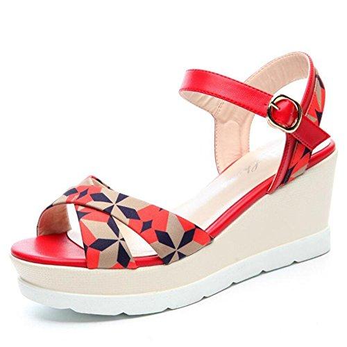Lemon&T Vintage style féminin PU supérieur Tissu peep-toe Semelle en caoutchouc 7cm haut talons épais Chaussures Compensées avec haut flatforms red