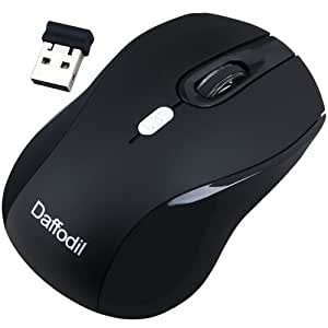 Daffodil WMS335B Wireless Optical Mouse 2.4GHz - Cordless 3 Button PC Mouse with Scrollwheel and Adjustable Sensitivity (MAX DPI: 2000) - For Laptop / Netbook / Desktop Computers - Supported by: Microsoft Windows (10 / 8 / 7 / XP / Vista) and Apple MAC (OS X +) - Battery Powered (1xAA Inc.)