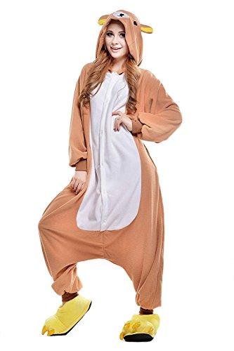 URVIP Erwachsene Unisex Jumpsuit Tier Cartoon Fasching Halloween Pyjama Kostüm Onesie Fleece-Overall Schlafanzug Braun Bär Small