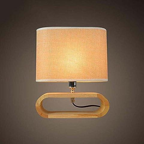 Semplice Modern American Wood Art panno di lino lampada da tavolo comodino da letto di studio lampada da tavolo, due stili opzionale ( colore : A )