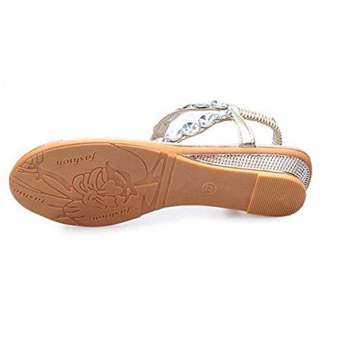 Omiky® 2017 Frau Sommer Sandalen Rhinestone Flats Platform Wedges Schuhe Flip Flops Gold
