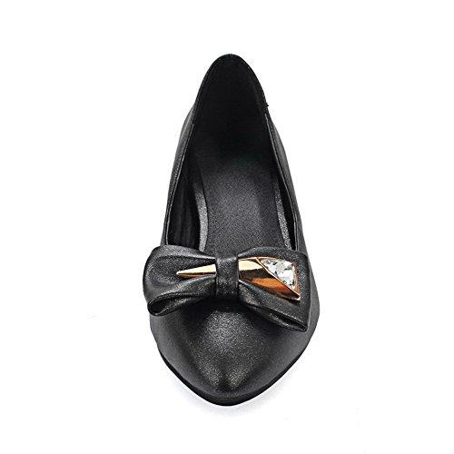 AllhqFashion Femme Tire Pointu à Talon Bas Pu Cuir Mosaïque Chaussures Légeres Noir