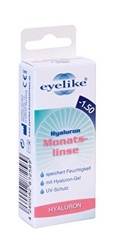Eyelike Hyaluron Monatslinsen weich, 1 Stück/BC 8.6 mm/DIA 14.2 mm / -1.5 Dioptrien