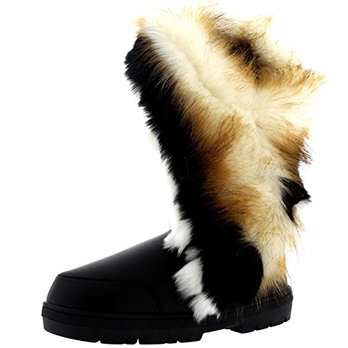 Damen Tall Tassel Rabbit Pelz Gefüttert Winter Kaltes Wetter Schnee Regen Stiefel - Schwarz Leder - BLL40 AEA0402 (Pelz Leder Gefüttert)