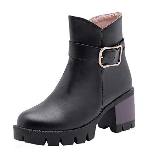 QinMM Damen-gehende Cowboy-Schuhe, beiläufige bloße doppelte Wölbungs-Aufladungen der Frauen quadratische quadratische Fersen-Knöchel-Kurze Aufladungen -