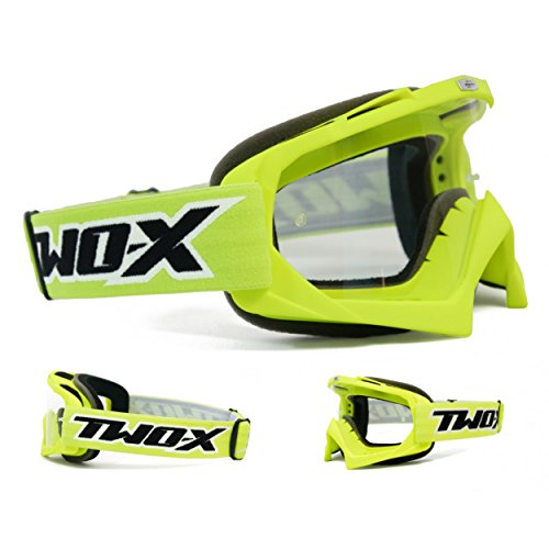 Two-X Race Crossbrille Graphic MX Brille Neon gelb Motocross Enduro Klarglas Motorradbrille Anti Scratch MX Schutzbrille