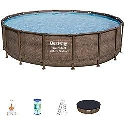 Bestway - Piscine hors sol ronde effet rotin Power Steel Deluxe, diamètre 488 cm hauteur 122 cm, filtre à cartouche immergé Skimatic, échelle de sécurité, bâche de protection et tapis de sol