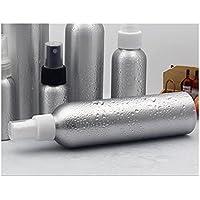 Botellas separadas de viaje 100 ML botella de viaje belleza aluminio atomizador botella de dispensación de spray vacía botella de perfume botella de tamaño de viaje aéreo (blanco ang plata) Botellas