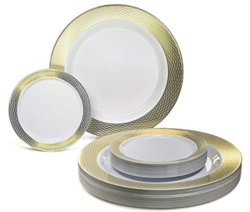 Occasions 240 Pack-Schwergewichts-Premium-Einweg-Kunststoff-Platten Set - 120 x 10.5 '' Dinner + 120 x 6.25 '' Dessert/Kuchen Teller (Dimoand Weiß und Gold-Rim) Gold Trim Dessert