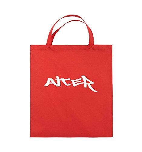 Comedy Bags - ALTER - GRAFFITI - Jutebeutel - kurze Henkel - 38x42cm - Farbe: Schwarz / Pink Rot / Weiss