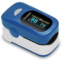Oxímetro de Pulso, Aprobado por CE y FDA, frecuencia del pulso (PR) visualización de la frecuencia cardíaca en onda, sensor de SPO2 de saturación de oxígeno en la sangre %, 2 x baterías AAA incluidas, cordón, instrucciones llenas