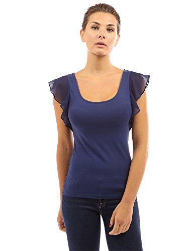 PattyBoutik Damen Rundhalsausschnitt Bluse mit Spitze und Rüsche Marineblau