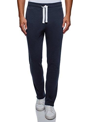 oodji Ultra Uomo Pantaloni di Base in Maglia, Blu, IT 52 / XL