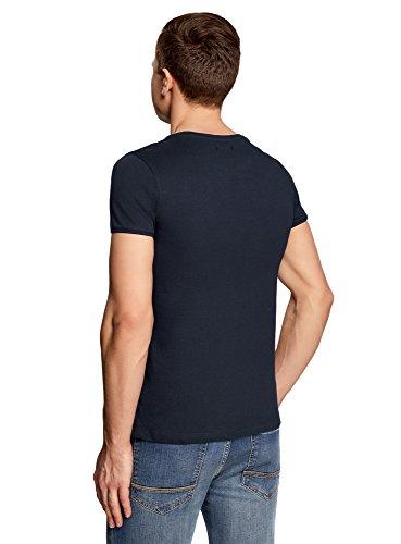 oodji Ultra Herren Baumwoll-T-Shirt mit Ziertasche Blau (7975B)