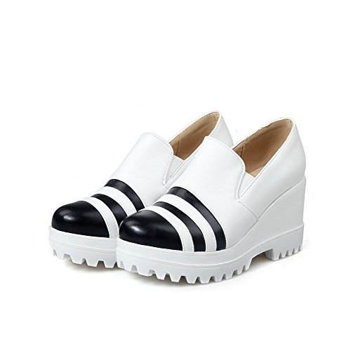 AllhqFashion Femme Matière Souple Tire Rond à Talon Haut Couleurs Mélangées Chaussures Légeres Blanc