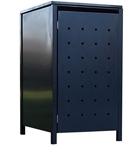 BBT@ | Solide Mülltonnenbox für 1 Tonne je 240 Liter mit Klappdeckel in Grau (RAL 7016) / Stanzung...