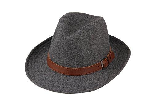 Dantiya-Unisexe Chapeau fedora feutre classique avec bandeau brun Gris