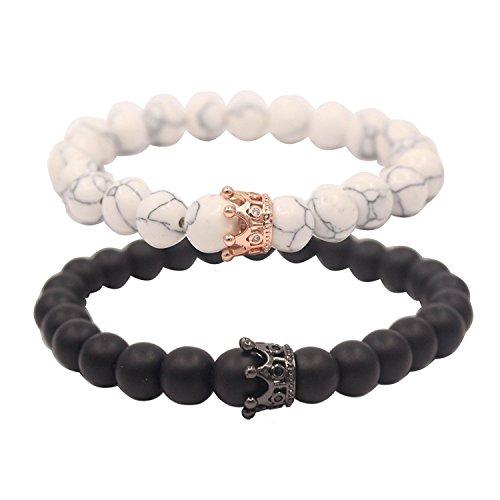 (Jlbuay Paar Abstand Armbänder für Liebhaber 8mm Perlen für Männer Frauen Krone Matt Achat Armband Weiß Verstellbar Schwarz)