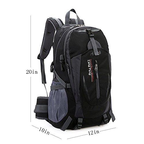 Zaino da escursione Grande borsa impermeabile leggera leggera 40L, Daypack esterna da campeggio con cintura di vita per escursioni a piedi, Viaggi, Montagna arrampicata, Ciclismo, Pesca (arancione) nero