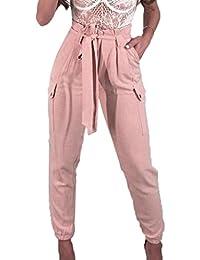 OverDose Femme Pantalon Carotte Tissé avec Ceinture Obi Femme,Overdose Été  Décontracté Pantalons Fuselé Taille 26c08f98195b