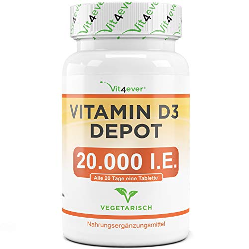 Vit4ever® Vitamin D3 20.000 I.E. Depot 240 Tabletten - Hochdosiert - Vergleichssieger 2019* - Laborgeprüft - Vegetarisch - 20 Tagesdosis 1000 I.E. pro Tag - Vitamin D - Premium Qualität -