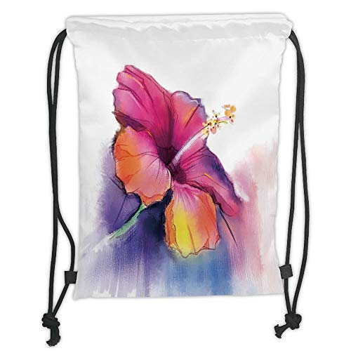 LULUZXOA Gym Bag Printed Drawstring Sack Backpacks Bags,Watercolor Flower Home Decor,Hibiscus Flower in Pastel Abstract Romantic Petal Pattern,Orange Purple Soft Satin - Hibiscus Home Decor