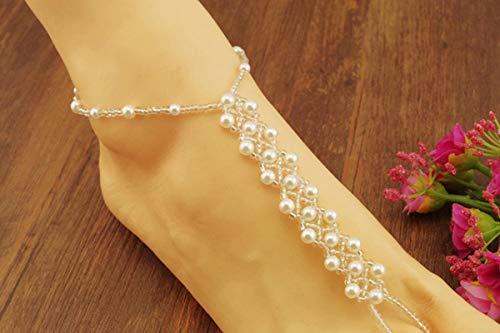 SonMo Damen Fußkette Strecken Perlen Fußkettchen Weiß Knöchel Kette Bohemian Fußschmuck Anklet Chain Einstellbar Zehenringe Zehenkette