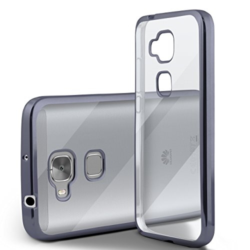 Huawei G7 Hülle Silikon Transparent Anthrazit [OneFlow Chrom Back-Cover] Silikonhülle Dünn Schutzhülle Handyhülle für Huawei Ascend G7 Case Ultra-Slim Tasche TPU